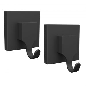 Fusion-Loc Matte Black Suction Hooks Pack 2